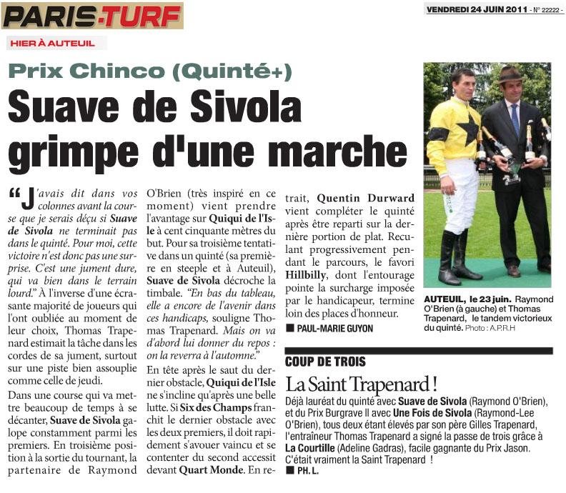 Suave de Sivola gagne le quinté à Auteuil